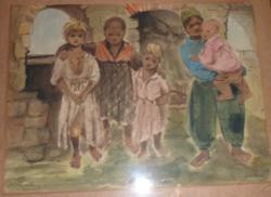 Róna Emy: Sárospataki cigányok, eredeti akvarell, jelzett, dedikált ' 1951