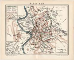 Ókori Róma térkép 1906, német nyelvű, eredeti, Brockhaus, lexikon melléklet, Európa, Itália, olasz