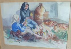 Huszár Vilmos: Kukoricamorzsolók, jelzett akvarell 1944-ből