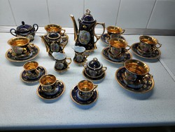 Kobaldkék porcelán teás- és  kávés készlet