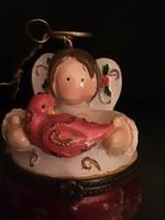 Esküvő - Eljegyzési gyűrűtartó angyal, kezében madárral. Szelence - Karácsony