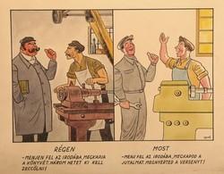 Gerő Sándor (1904-1977) Régen és most karikatúra Technika: vegyes technika, papír Méret: 25,5 x 38