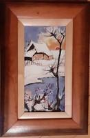 Fehér Margit: Havas táj piros bogyókkal , tűzzománc, 31 x 20 cm kerettel
