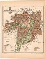 Abaúj - Torna megye térkép 1893 (10), lexikon melléklet Gönczy Pál, vármegye, Posner Károly, eredeti