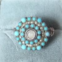 Antik ezüst ötvös gyűrű türkiz , barokk gyöngy