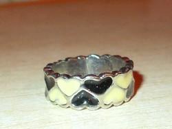 Fekete - Fehér Szív Tűzzománc Iparművész Gyűrű 6-os