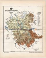 Komárom vármegye térkép 1897 (10), lexikon melléklet, Gönczy Pál, megye, Posner Károly, eredeti