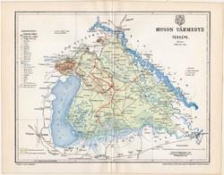 Moson vármegye térkép 1897 (10), lexikon melléklet, Gönczy Pál, megye, Posner Károly eredeti
