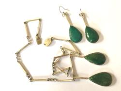 Extravagáns Nagy Art Deco Ezüst Szett Fülbevaló Nyakék Zöld Türkíz Antik