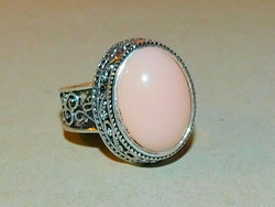 Díszes Rózsaszín köves Tibeti ezüst kézműves Gyűrű 8-as