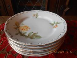 Zsolnay sárga rózsa mintás lapos tányérok 6 db