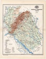 Pozsony vármegye térkép 1897 (10), lexikon melléklet, Gönczy Pál, megye, Posner Károly, eredeti