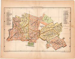 Hódmező - Vásárhely térkép 1898, lexikon melléklet, város, Magyarország, Hódmezővásárhely, kerület