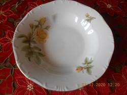 Zsolnay sárga rózsa mintás mély tányér