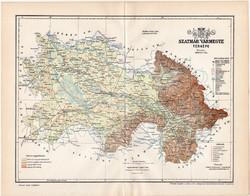 Szatmár vármegye térkép 1893 (10), lexikon melléklet, Gönczy Pál, megye, Posner Károly, eredeti