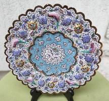 Zomànc kézi festett gyönyörű falitál,kinàló,díjazták.asztalközép.a szélén domború,madarak viràgok!