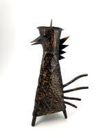 Kakas gyertyatartó -vörösréz iparművész ötvösmunka