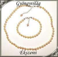 Édesvizi igazgyöngy nyaklánc-karkötő szett, 925-ös ezüst kapoccsal SSZE-IG01 6,5x5,5 barack