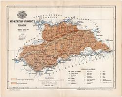 Kis - Küküllő vármegye térkép 1894 (11), lexikon melléklet, Gönczy Pál, megye, Posner, eredeti