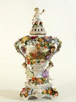 19.sz. Sitzendorf 40cm Potpourri tartó Porcelán Váza | Antik Illatosító Virágos Fülekkel Figurákkal