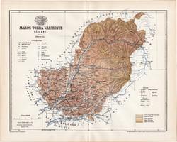 Maros - Torda vármegye térkép 1895 (10), lexikon melléklet, Gönczy Pál, megye, Posner Károly eredeti