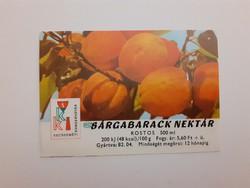 Retro szörpös üvegcímke 1982 Sárgabarack nektár címke