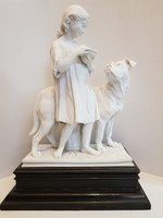 GYŰJTŐKNEK!! HATALMAS!!! Antik biszkvit porcelán kutyát etető kislány 1850-1880