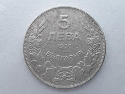 Bulgária 5 Leva 1930 pénzérme