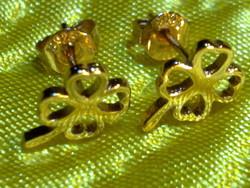 Szép aranyozott ezüst lóhere szív fülbevaló  arany