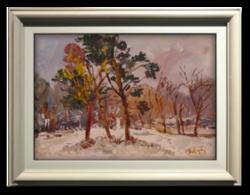Bánfi József (1936- ): Téli erdőszél - Szép színekkel megfestett olajkép a 70-80-as évekből