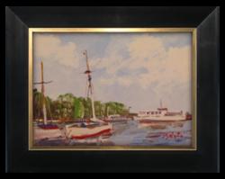 Bánfi József (1936- ): Kikötő a Balatonon - Szép színekkel megfestett olajkép a 70-es évekből