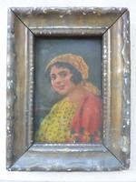 Mosolygós leány - miniatűr portré, XIX. századból feltehetően (olaj-fa kerettel, 17x22 cm)