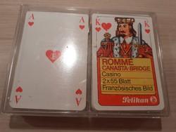 KÁRTYA Vintage Pelikan römi kártya Romme Canasta Bridge 2x55 lap franciakártya