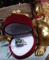 2,15 karat VS1 fehér SKY kék Moissanite Diamond 925 ezüst gyűrű méret: 55