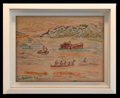 'Kint a nyílt vizen' - akvarellfestmény külföldi művésztől, látványkeretben