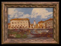 Bánfi József (1936): Velence - Hangulatos színvilágú  olajkép a 70-80-as évekből,virtuális keretbent