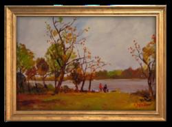 Bánfi József (1936- ): Séta az őszi vízparton - Szép színekkel megfestett olajkép a 70-80-as évekből