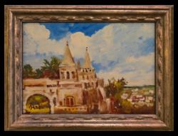 Bánfi József (1936- ): Budapest Halászbástya - Szép színekkel megfestett várábrázolás, olaj kartonon
