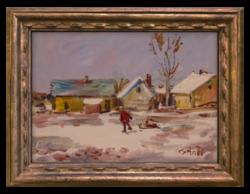 Bánfi József (1936-): Szánkózó fiúk - Retro hangulatú ,szépen megfestett téli életkép, olaj kartonon