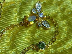 Szép aranyozott ezüst citrin peridot drágakő méhecske karkötő arany