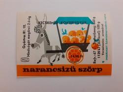 Retro szörpös üvegcímke 1981 Narancsízű szörp címke