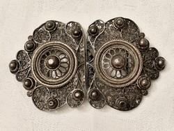 Pazar antik ezüst filigrán övcsat, nagy méret 10 x 6 cm.