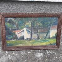 Eredeti Rozs János fák ház, olajfestmény