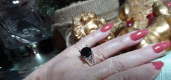 5,78 CT fekete Gyémánt solitaire 925 ezüst gyűrű méret 56