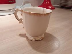 Antik biedermeier PORCELÁN szép formájú porcelán csésze, aranyozott, repedt