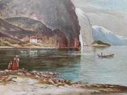 Letisztított ,Antik tàjkép1800as évek,olaj vászon festmény tengerszem . Szignàlt Osztrák vagy olasz,