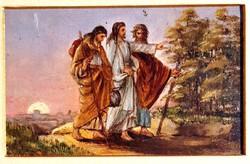 Jézus és követői gyönyörű egyházi miniatűr antik olajfestmény