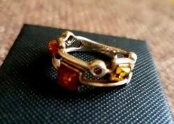 Borostyánköves ezüst gyűrű