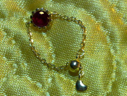 Aranyozott ezüst rubin szív lánc gyűrű különleges és szép arany