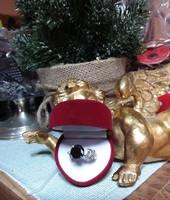 4,56 CT fekete moissonit kerek Diamond 925 ezüst méret 60